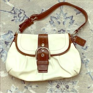 Coach Soho Buckle Flap Shoulder Bag White Leather